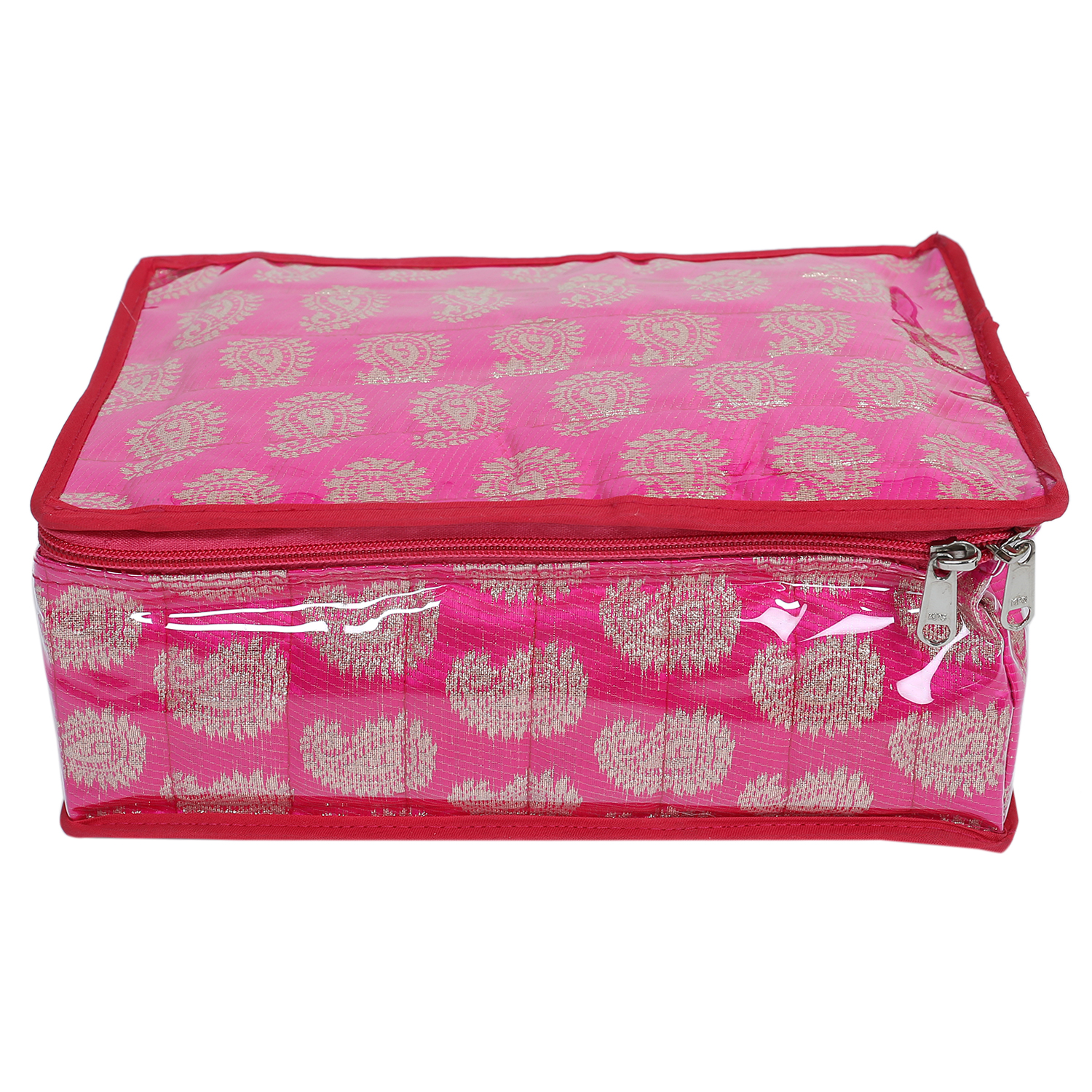 Kuber Industries Brocade Jewellery Kit with 12 extra pouches (Pink)-CTKTC1922