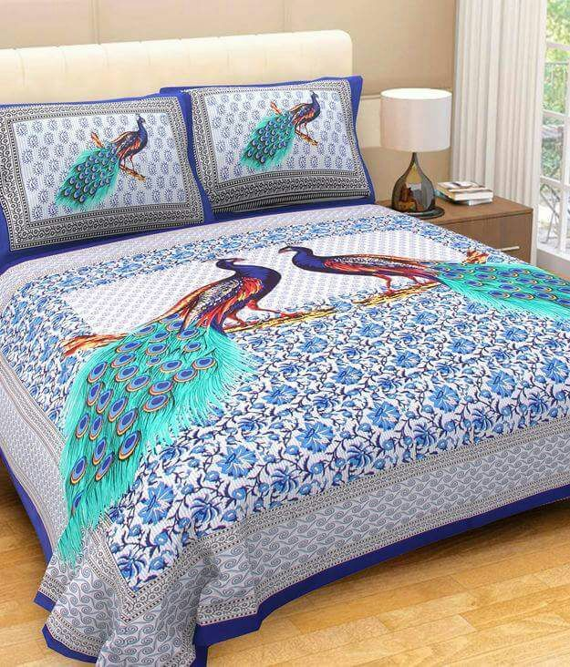 Kuber Industries™Cotton Double Bedsheet with 2 Pillow Covers King Size (Exclusive Peacock Design)- Blue (BS012)