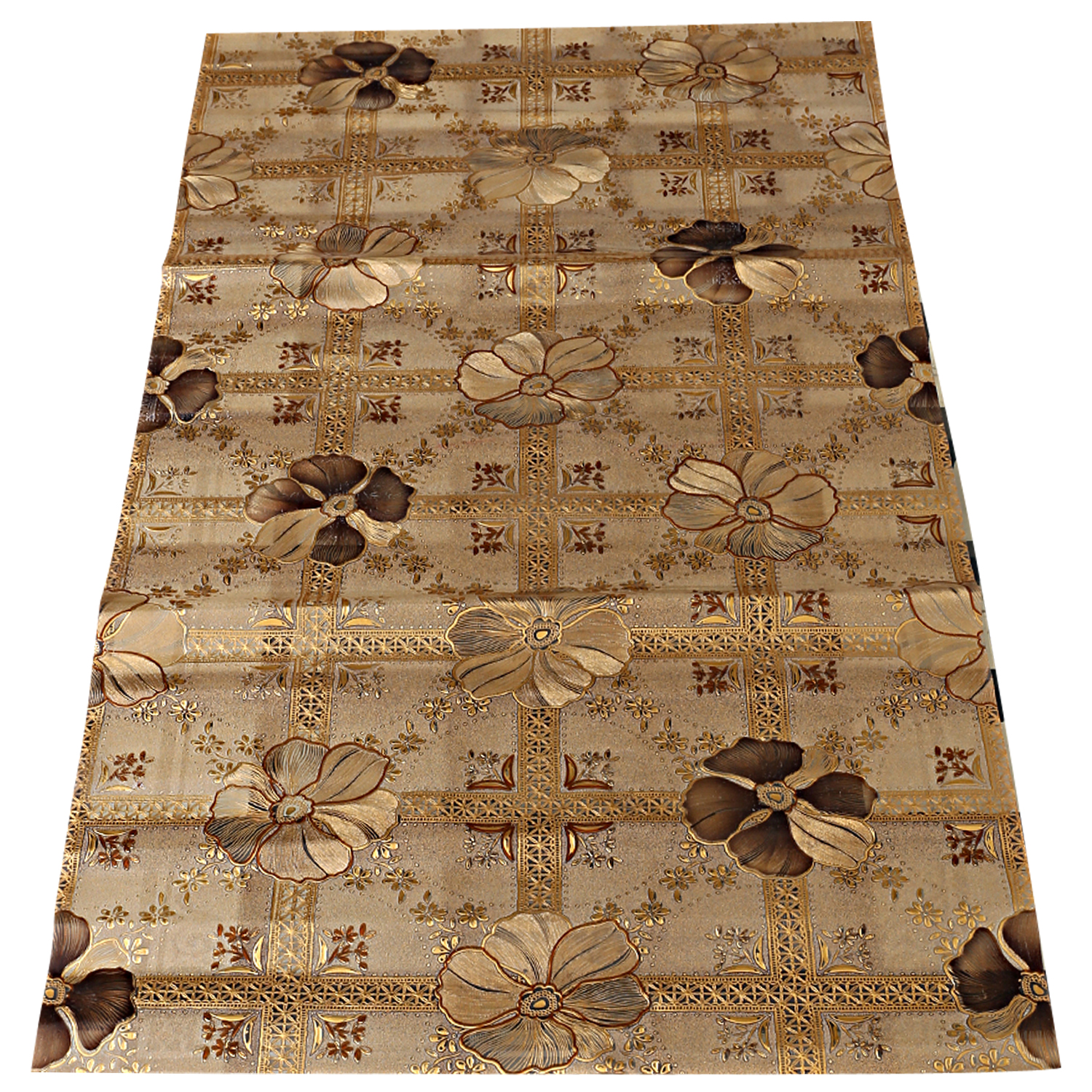 Kuber Industries Flower Design PVC Dining Table Runner  (Gold)-CTKTC1281