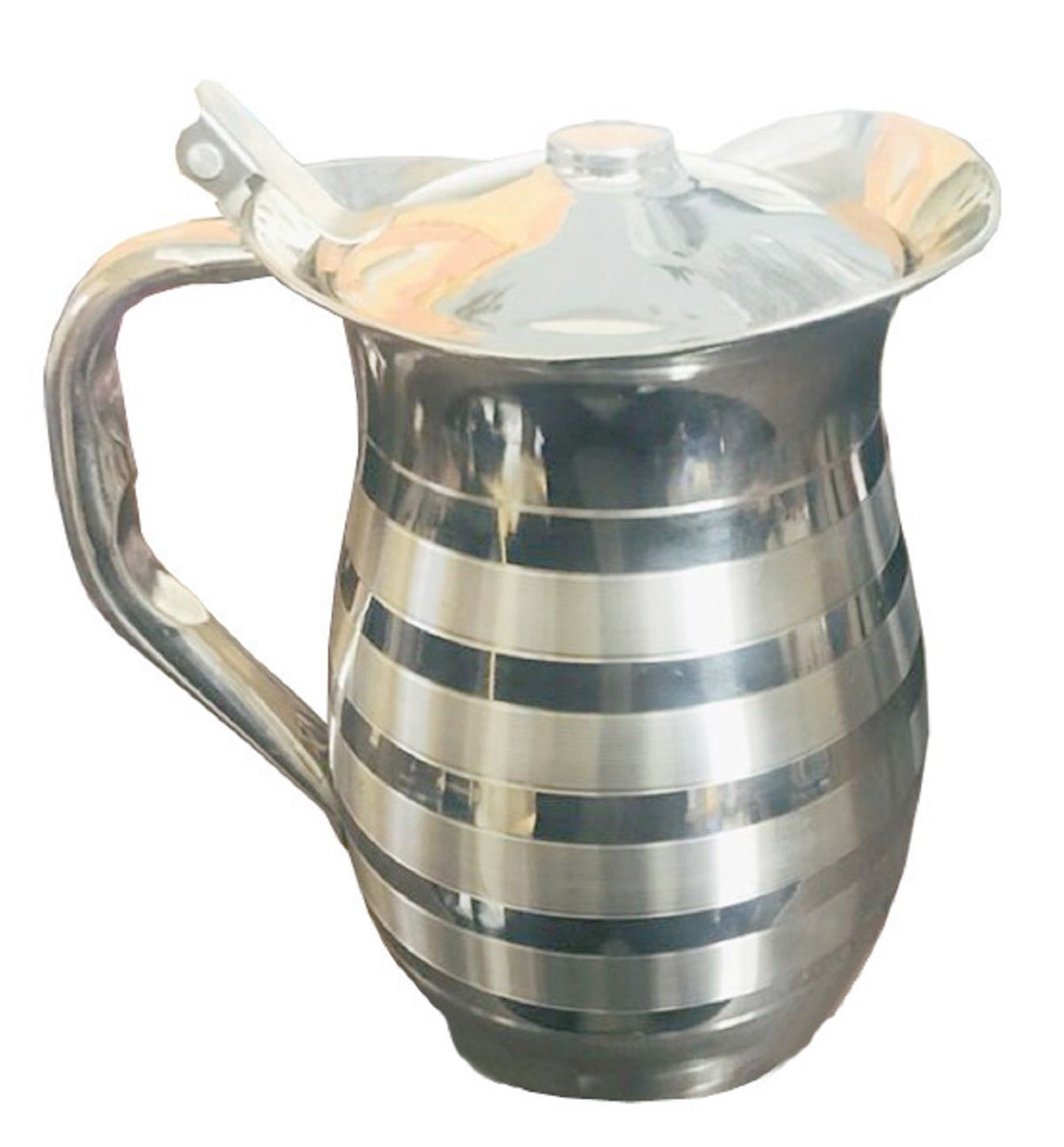 Kuber Industries Pure Stainless Steel Jug Pitcher 1500 ML For Storage & Serving Water With 6 Steel Glass (Jug27)
