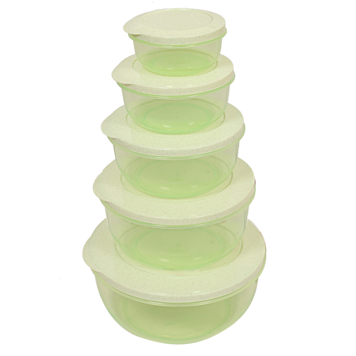 Kuber Industries Plastic 5 Pieces Container Set (Green)