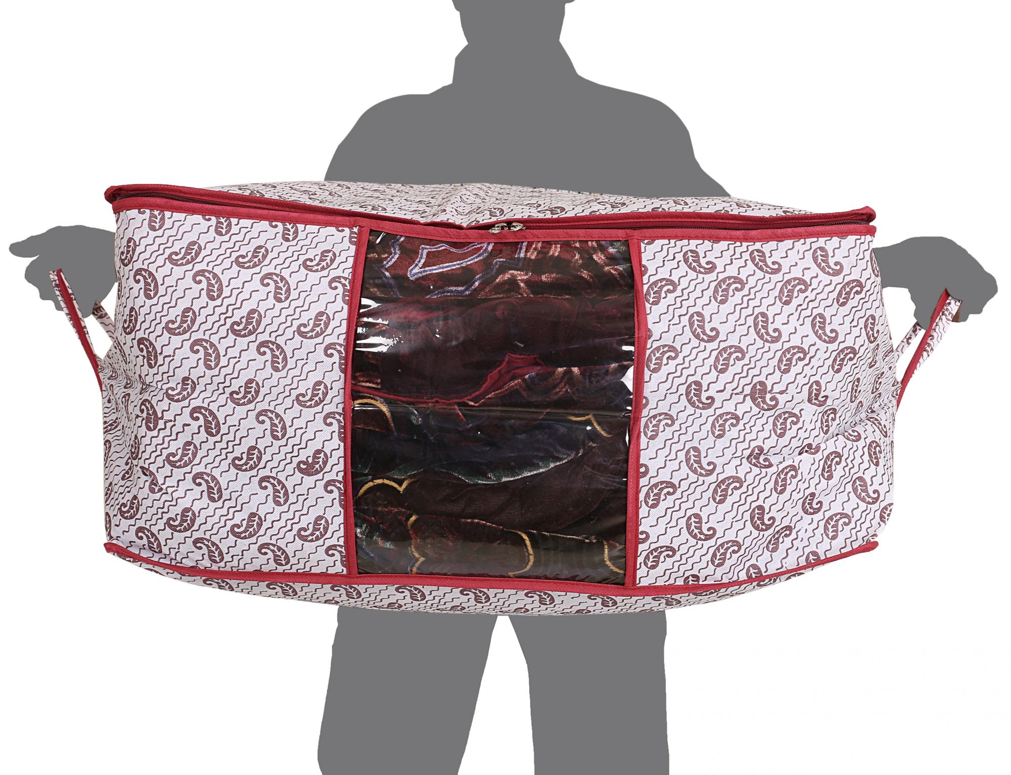 Kuber Industries Non Woven Underbed Storage Bag/Organiser, Extra Large (Maroon) CTKTC1640