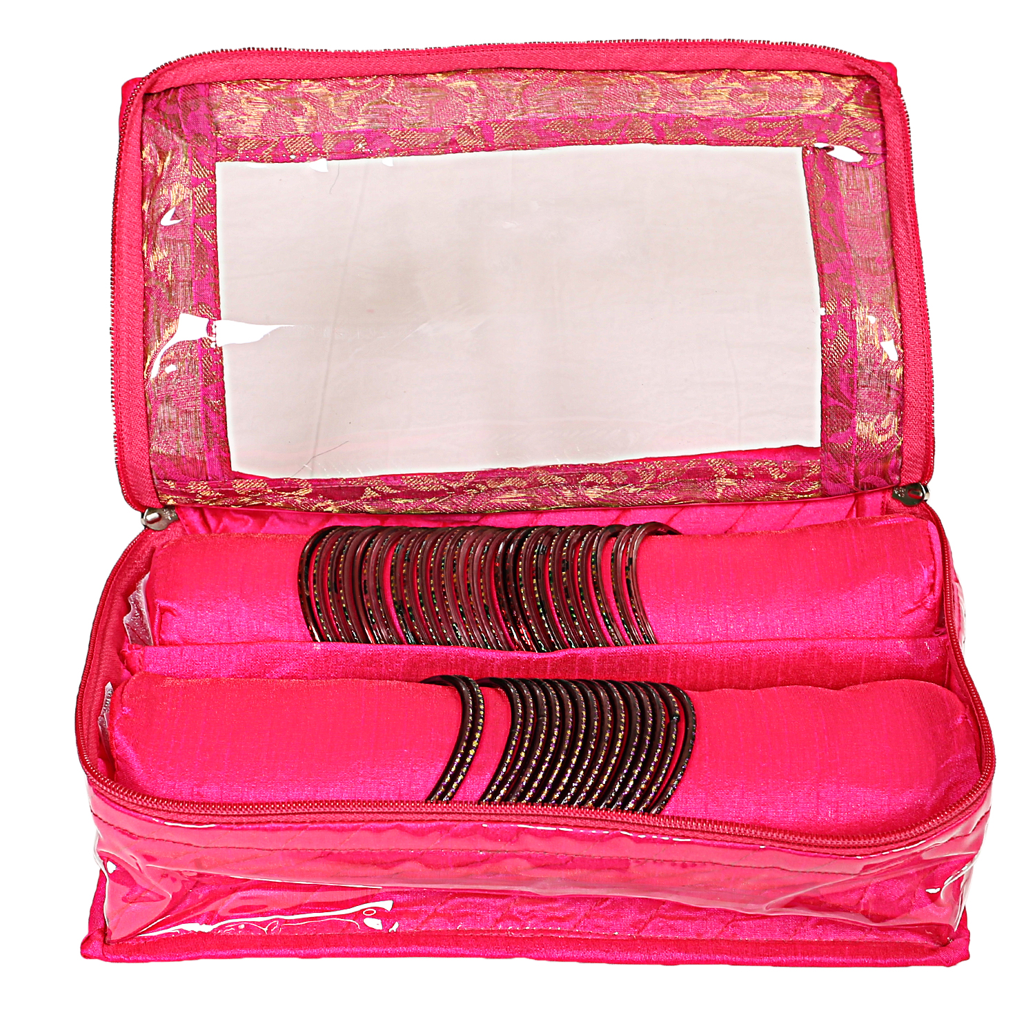 Kuber Industries Satin Two Roll Bangle Box (Pink)