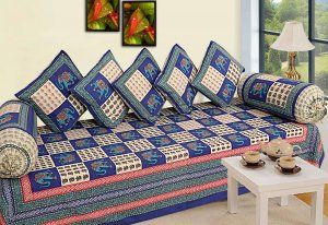 """Kuber Industries 8 Piece Cotton Diwan Cover Set - Blue & White """