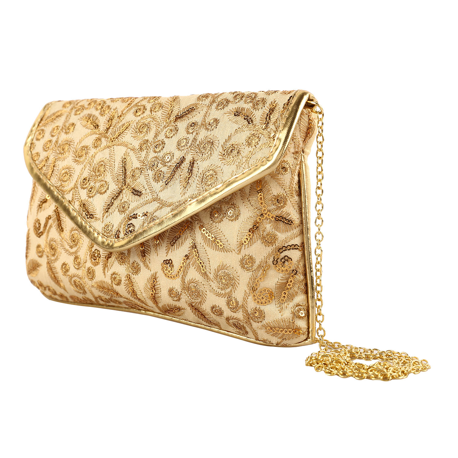 Kuber Industries 3 Pieces Handcrafted Embroidered Clutch Women Handbag (Gold) -CTKTC4021