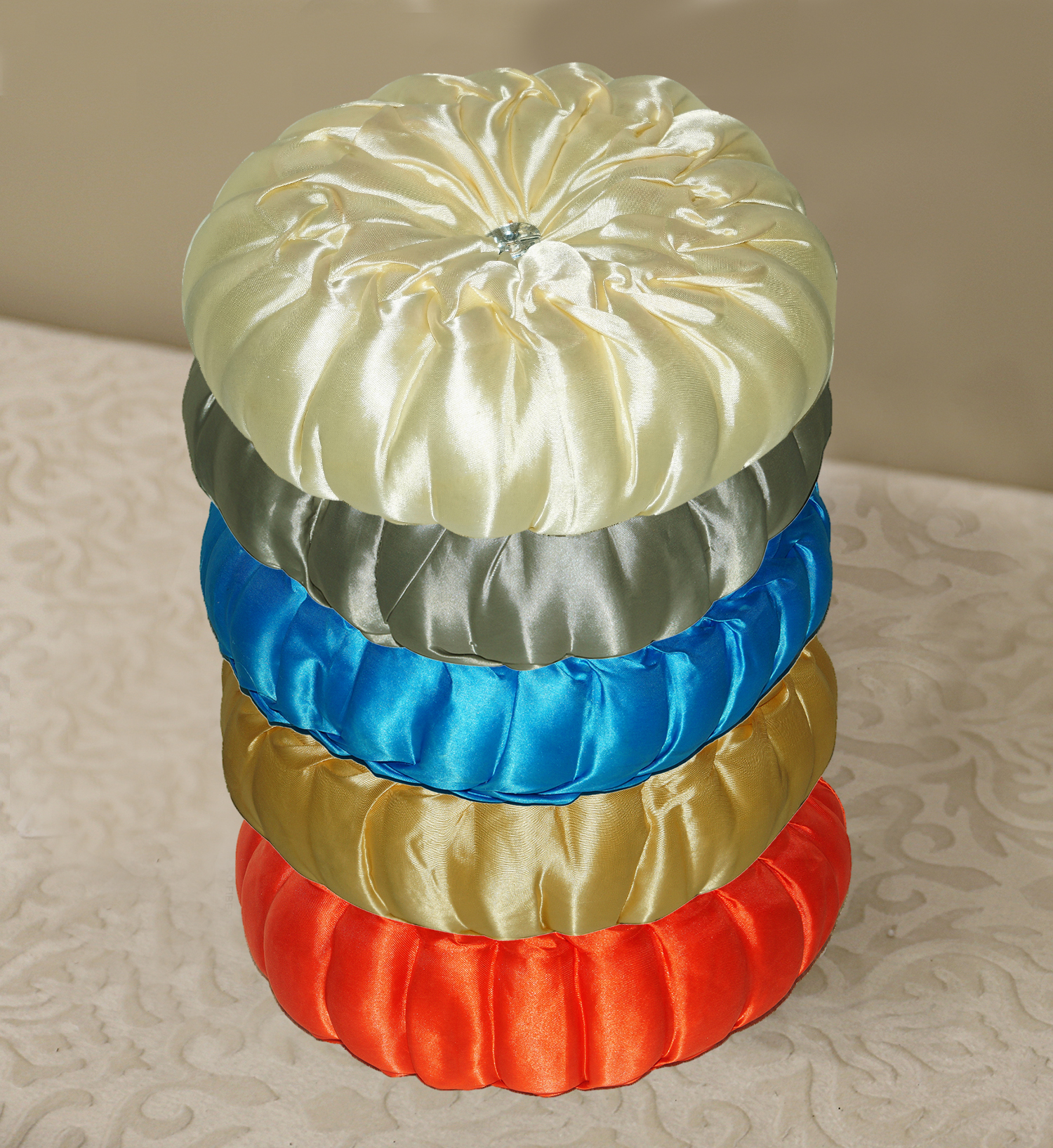 Kuber Industries Silk Round Shape Cushion 35x35 CM (Multi) Set of 1 Pc-CTKTC1532