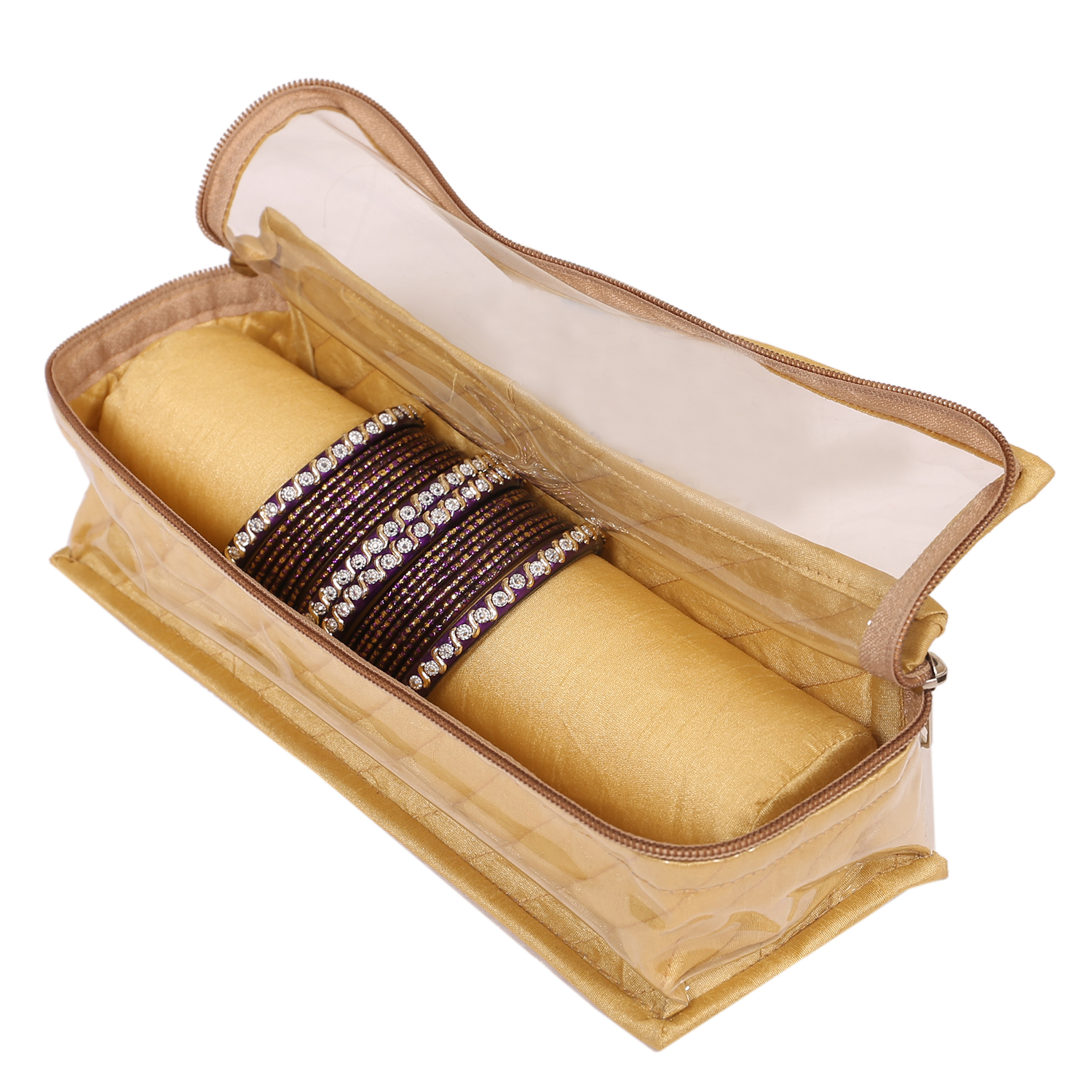 Kuber Industries Satin One Roll Bangle Box (Golden)