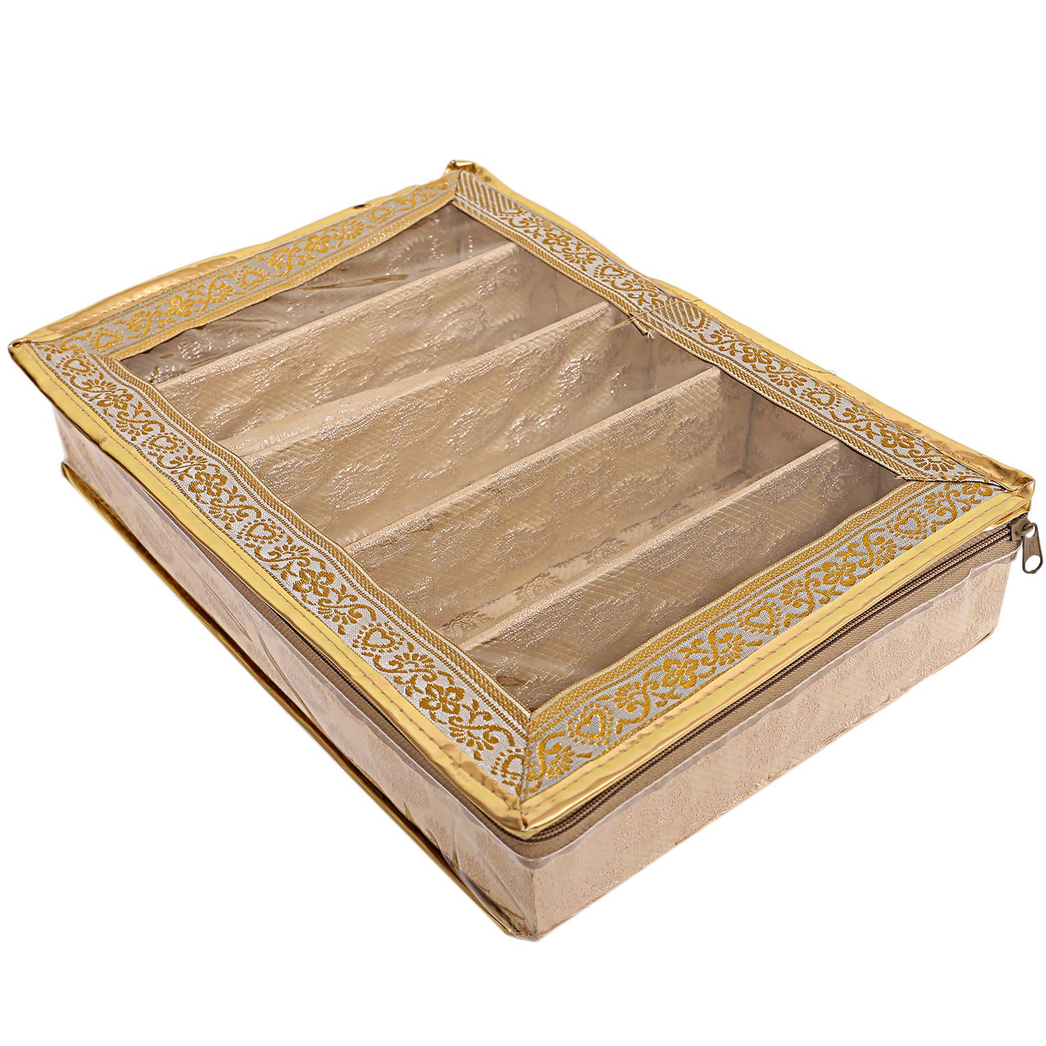 Kuber Industries Brocade 5 Rod Bangle Box, Golden Set of 2 Pcs