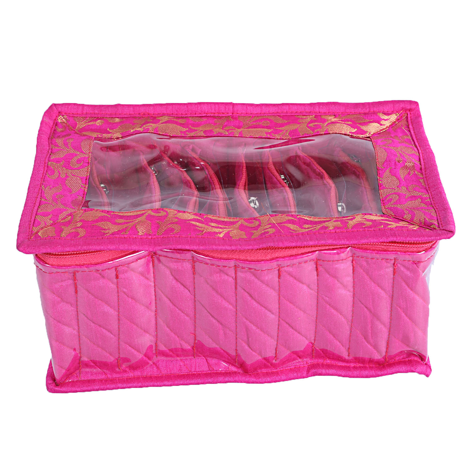 Kuber Industries Cotton 2 Pieces 10 Pouch Jewellery Box (Pink & Green) -CTKTC5343