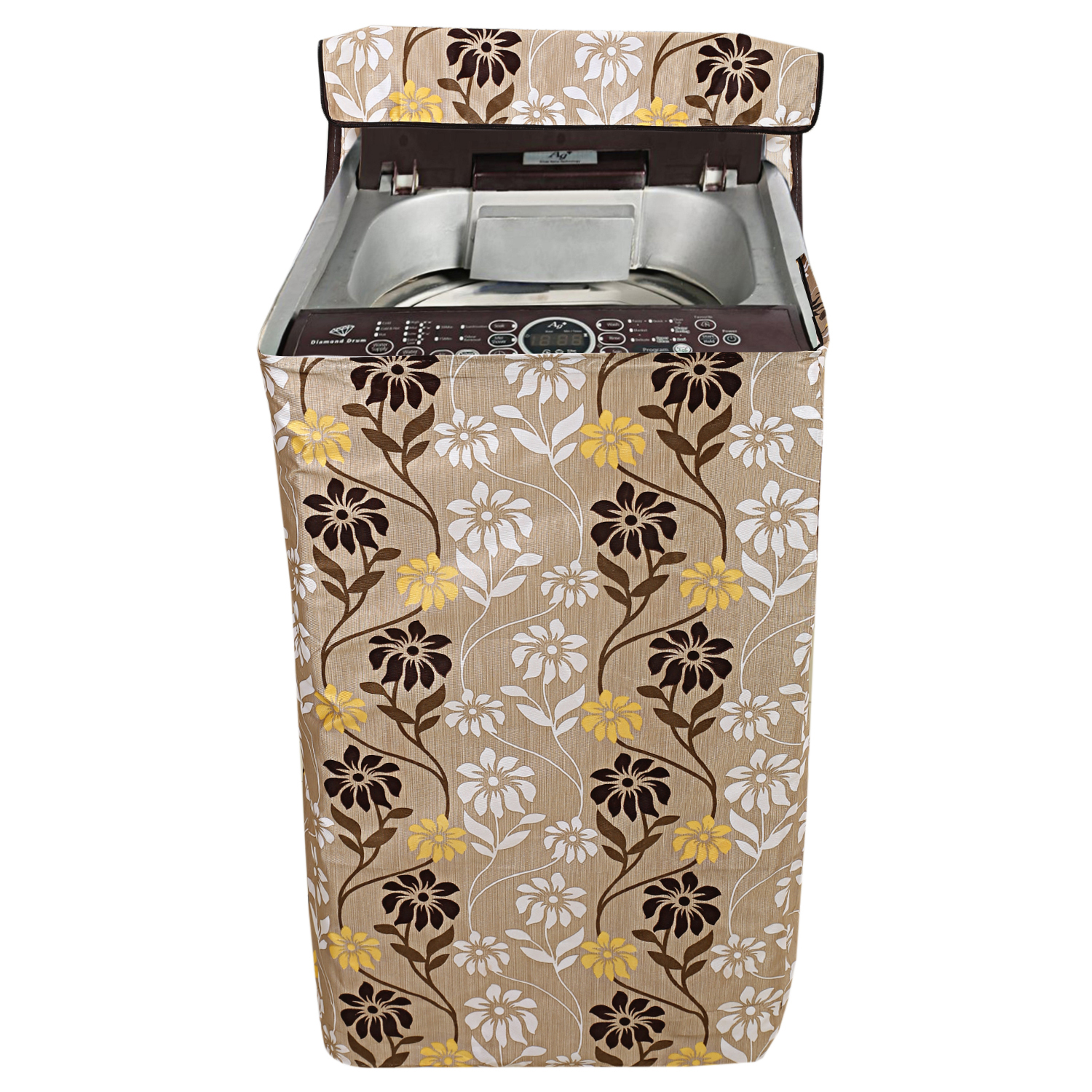 Kuber Industries Fabric Top Load Fully Automatic Washing Machine Cover (Light Brown)