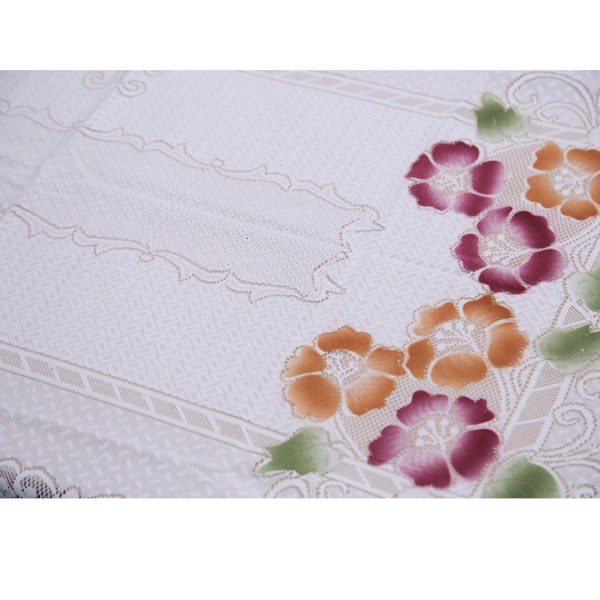Kuber Industries™ Exclusive Dining Table Cover White Floral Design in Cloth Net 60*90 Inches (Dora Pattern)