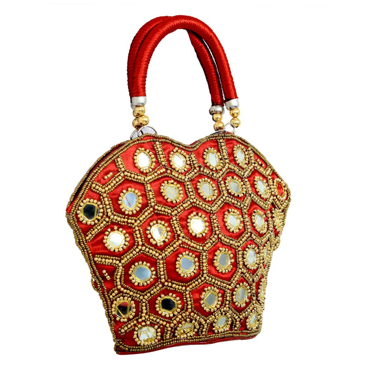 Kuber Industries™ Rajasthani Ethnic Mirror Work Handheld Bag,Small (Red) - BG13