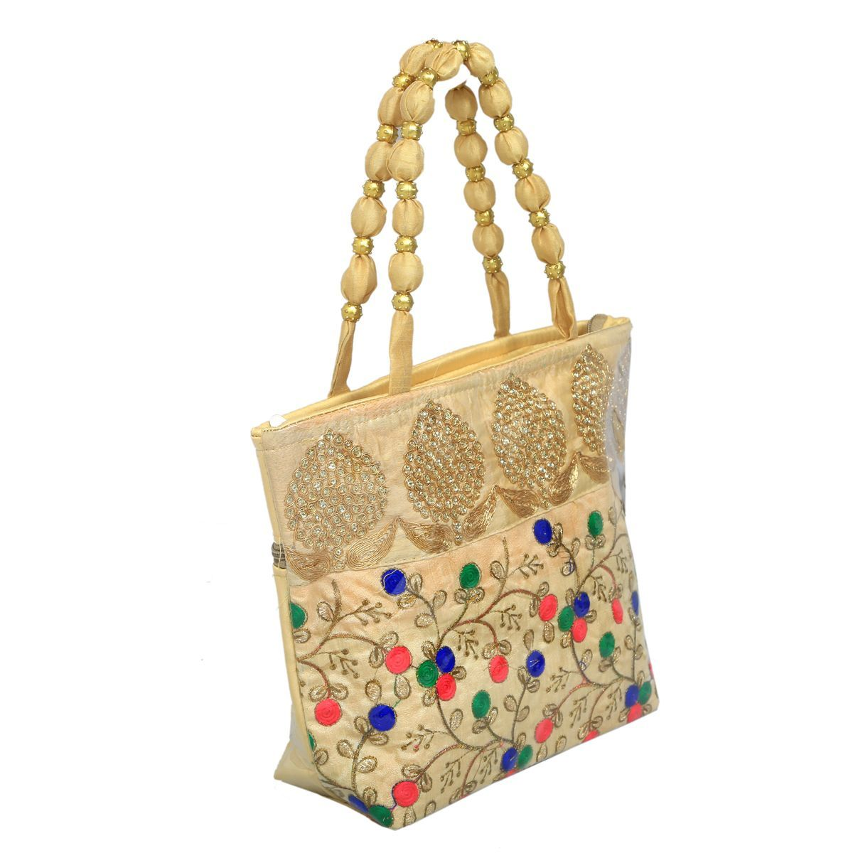 Kuber Industries™ Women Stylish Handbag Fully Laminated (Traditional Design), Cream - BG23