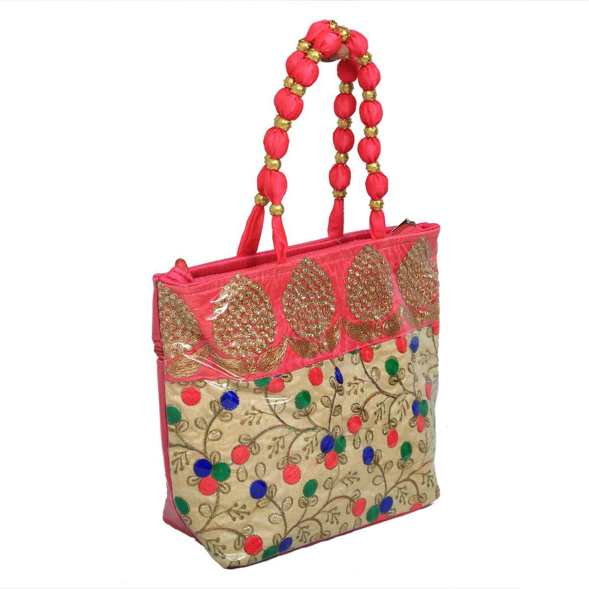 Kuber Industries™ Women Stylish Handbag Fully Laminated (Traditional Design), Pink - BG25