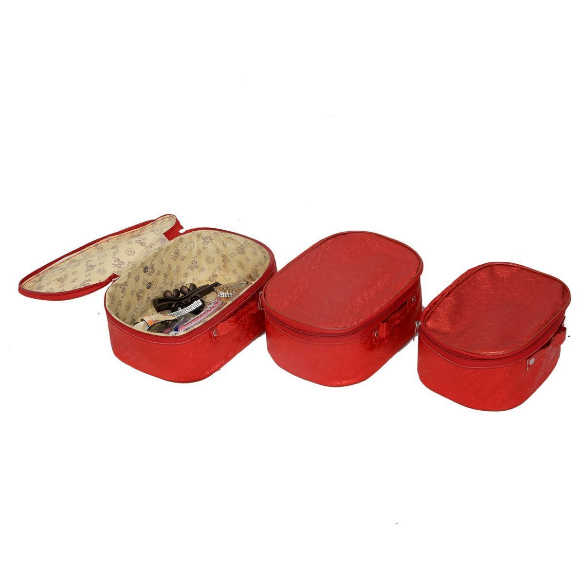 """Kuber Industriesâ""¢ Make Up kit,Travelling Kit,Cosmetic Organiser,Multi Purpose Kit Set of 3 Pcs Waterproof (Red) KI19439 """