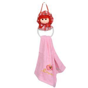 "Kuber Industriesâ""¢ Cute Toy Doll with Ring Washbasin Hand Towel For Kitchen & Bathroom,Multipurpose Towel (Assorted) Comes With Towel- KI19571"