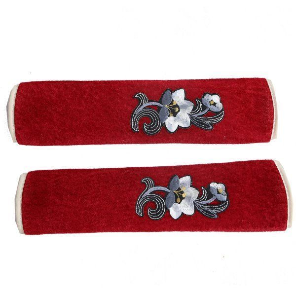 """Kuber Industriesâ""¢ Multi-Purpose Handle Cover For Car/ Refrigerator/Oven (1 Pair) Maroon Velvet -KI19640 """