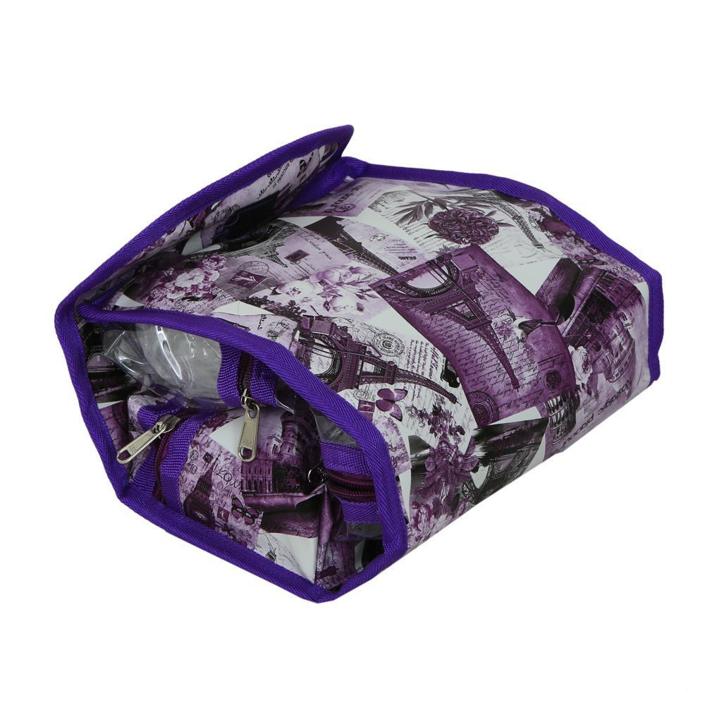 "Kuber Industries""ROLL N' GO"" Cosmetic/Toiletry/Jewelery Bag Cosmetic Bag Roll up Makeup Toiletry Bags Organizer with 3 Compartments (Purple) Qty.(1Pck) size:10""x 4.5""x 5.5"""