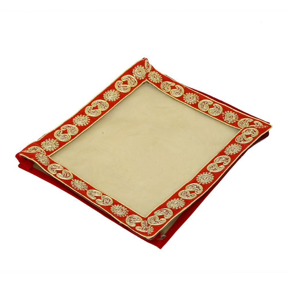 """Kuber Industries Saree Cover In Transparent Material With Gota Border Set Of 3 Pcs (3 Inches Height) (Wedding Collection Gift)  -KI3201 """