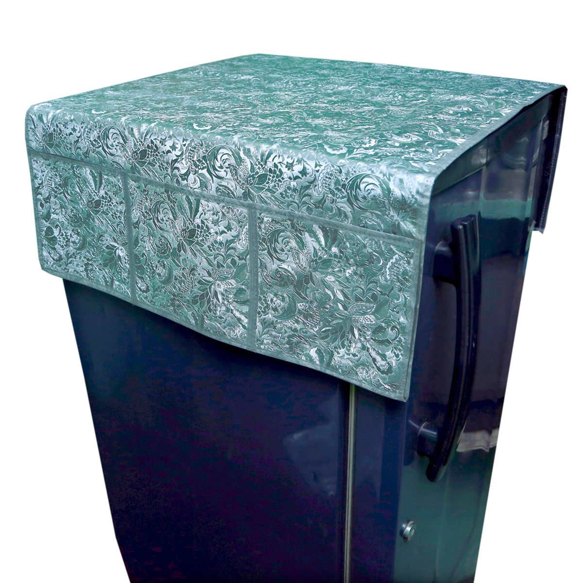 Kuber Industries™Decorative Fridge Cover/ Refrigerator cover- Waterproof (Grey Floral Design)