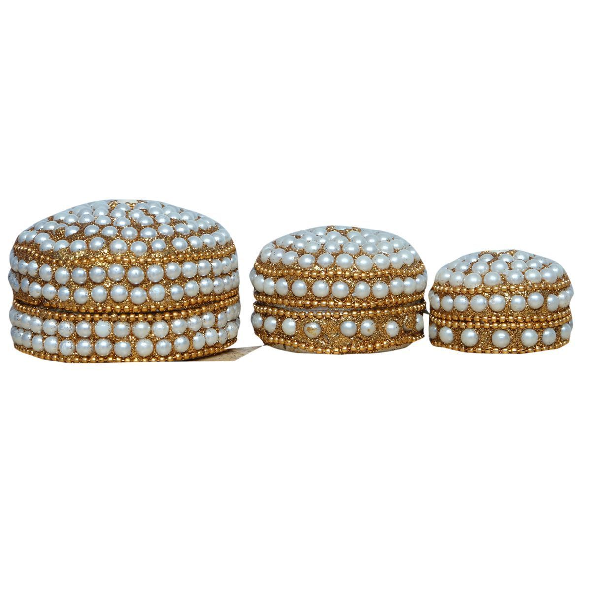 Kuber Industries™ Sindoor Dani Stone & Moti Beaded Jarkan Work|Silver Coin Box|Ethnic Dibbi Set|Jewellery Box|Ring & Earing Organiser Set of 3 pieces (White) Hand03