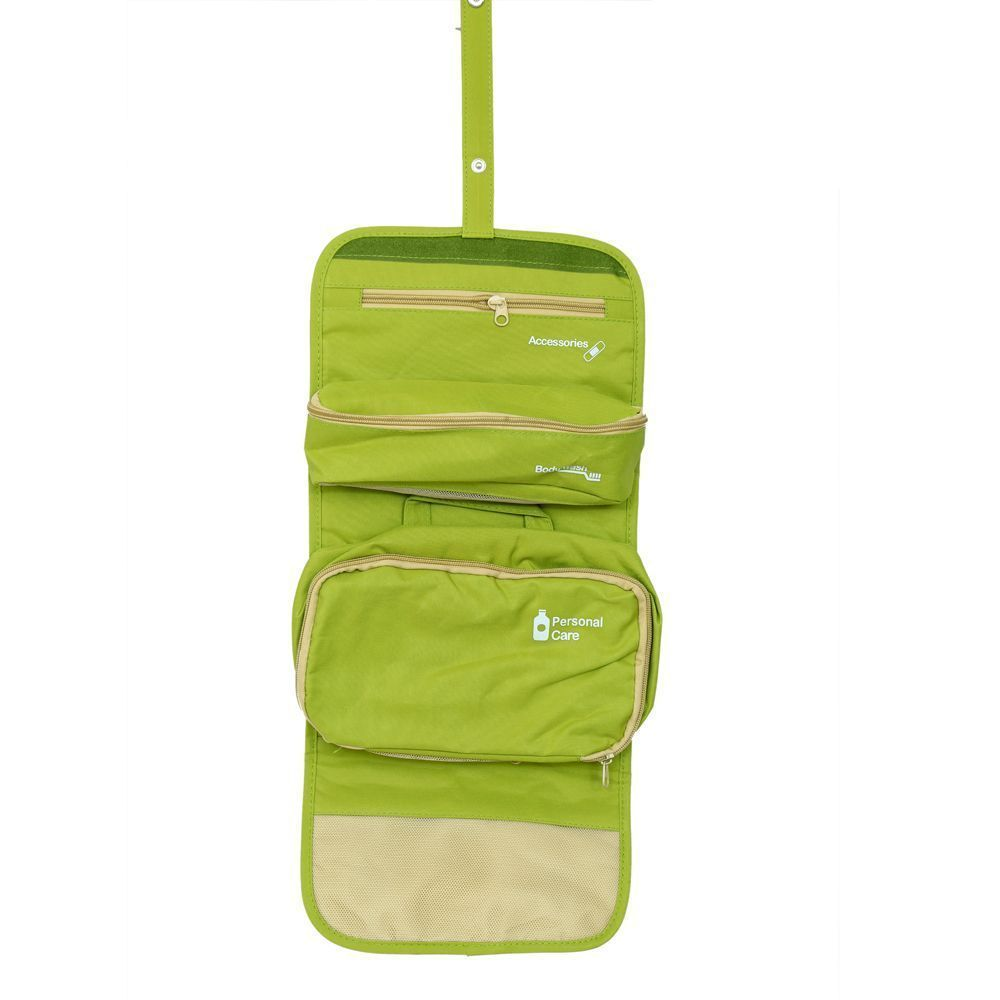 Kuber Industries Green Long Folding Hanging Cosmetic Makeup Travel Organizer kit with detachable pockets (KI3293)
