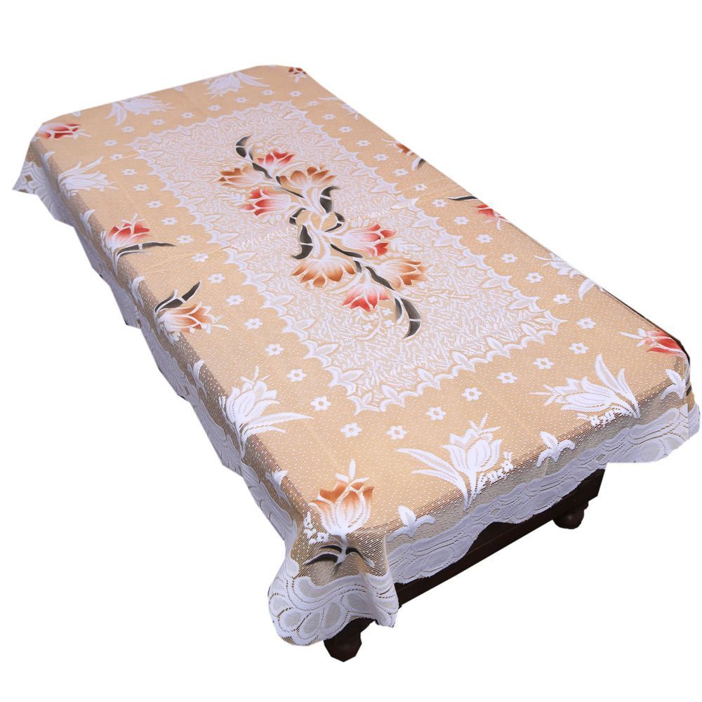 """Kuber Industries™ Dining Table Cover Cream Cloth Net For 6 Seater 60*90 Inches (Exclusive Floral Design) """