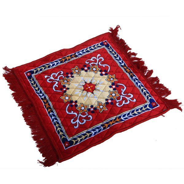 Kuber Industries™ Red Velvet Pooja Aasan, Pooja Mat (2 Ft X 2 Ft)