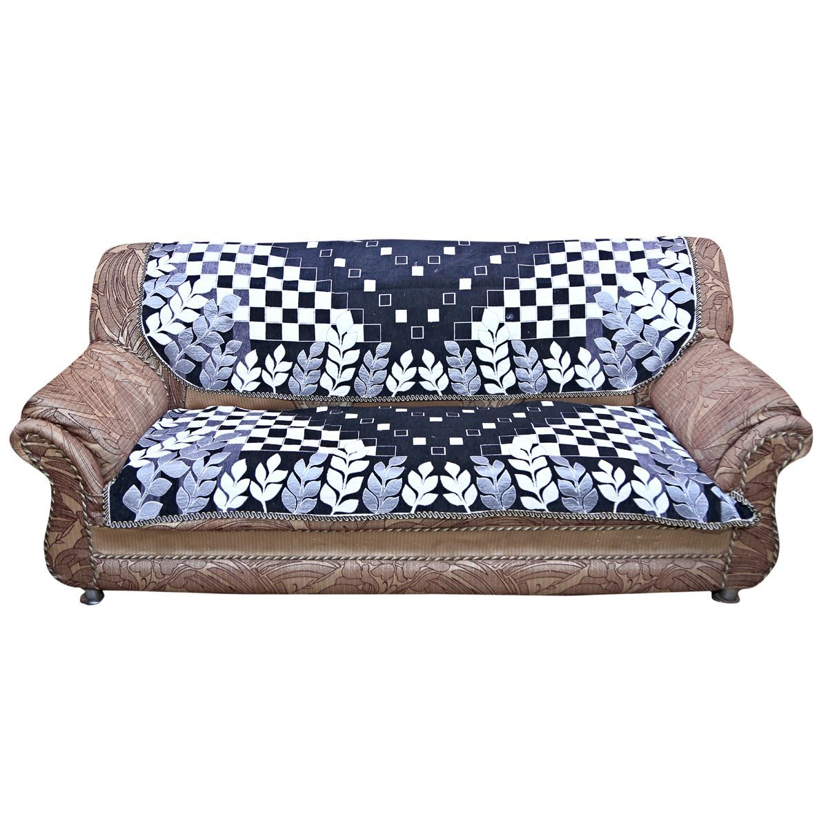 Kuber Industries™ Sofa Cover Heavy Velvet Cloth 5 Seater Set -10 Pieces- Black & White (Exclusive Print)