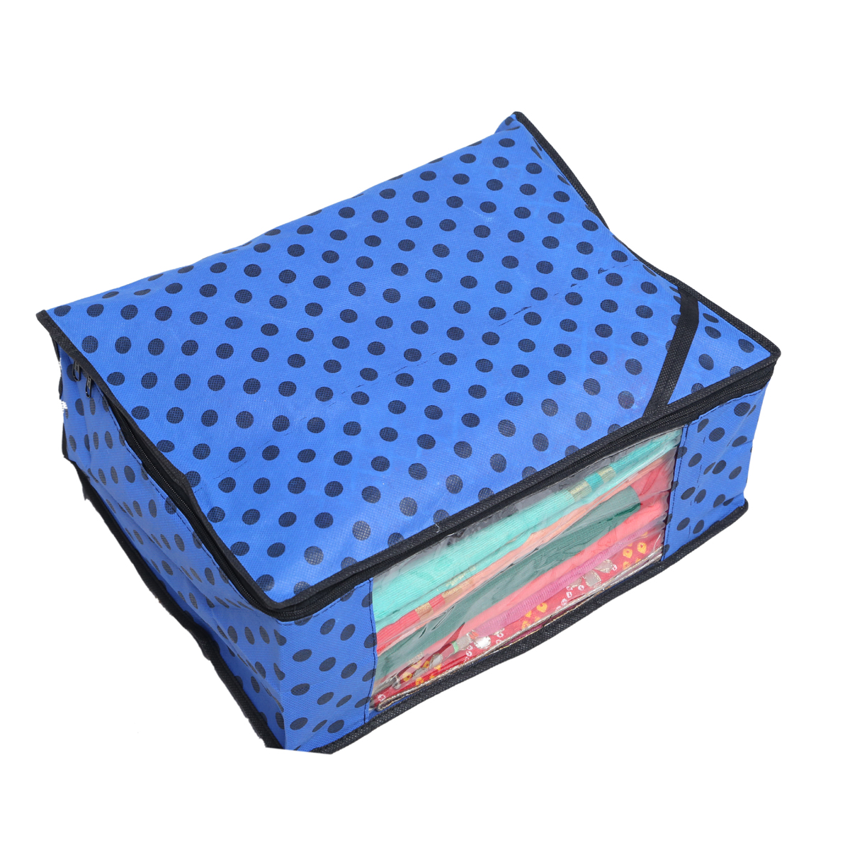 """Kuber Industries™ Non Woven Polka Dots Designer Saree Cover Set of 12 Pcs (Royal Blue + Orange + Ivory)) """
