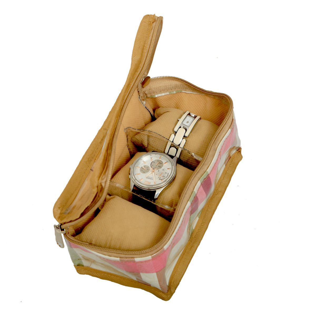 """Kuber Industriesâ""¢ Wrist Watch Case,Watch Cover,Watch Box,Bangle Box In Laminated Imported Fabric (Three Roll) KU140 """