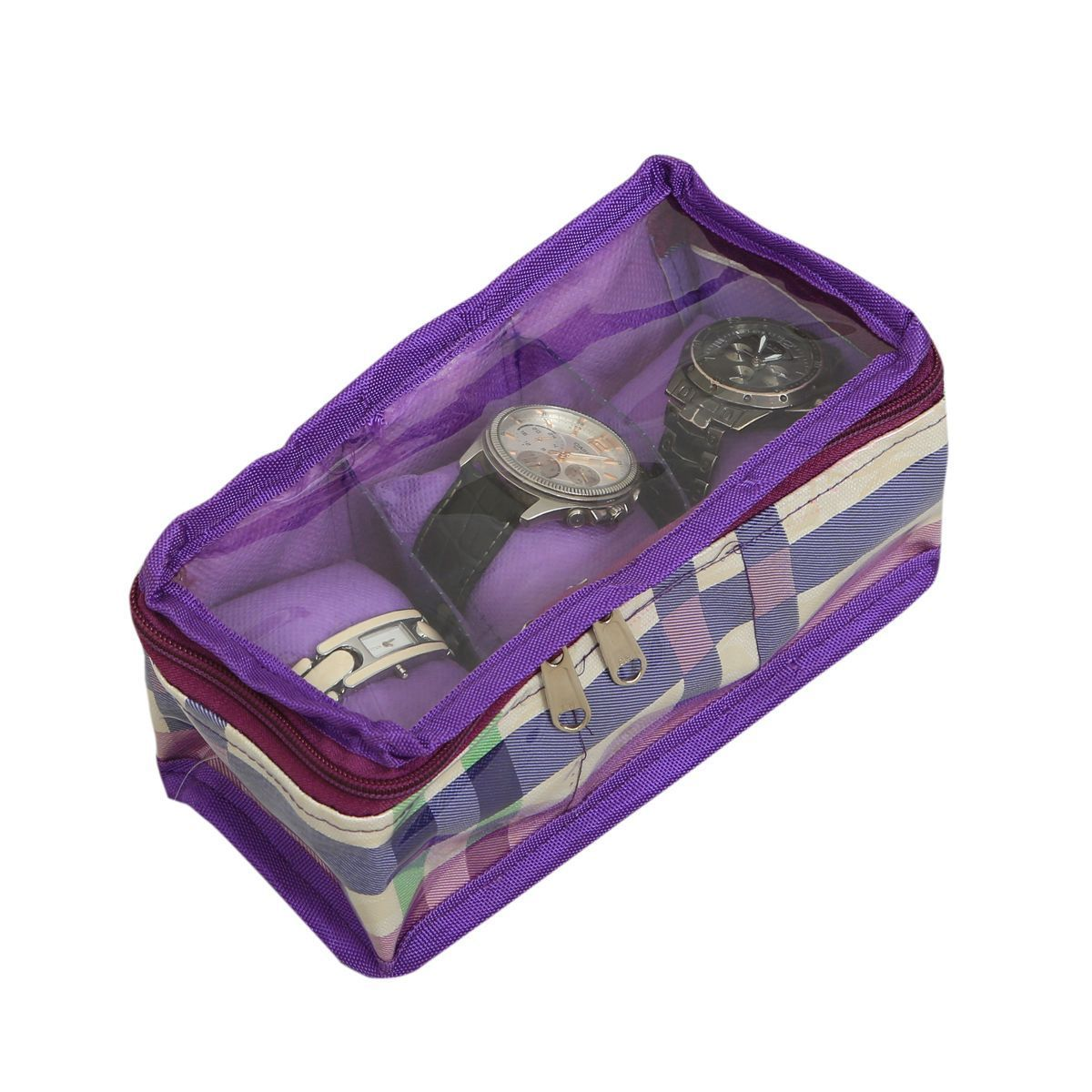 """Kuber Industriesâ""¢ Wrist Watch Case,Watch Cover,Watch Box,Bangle Box In Laminated Imported Fabric (Three Roll) KU153 """