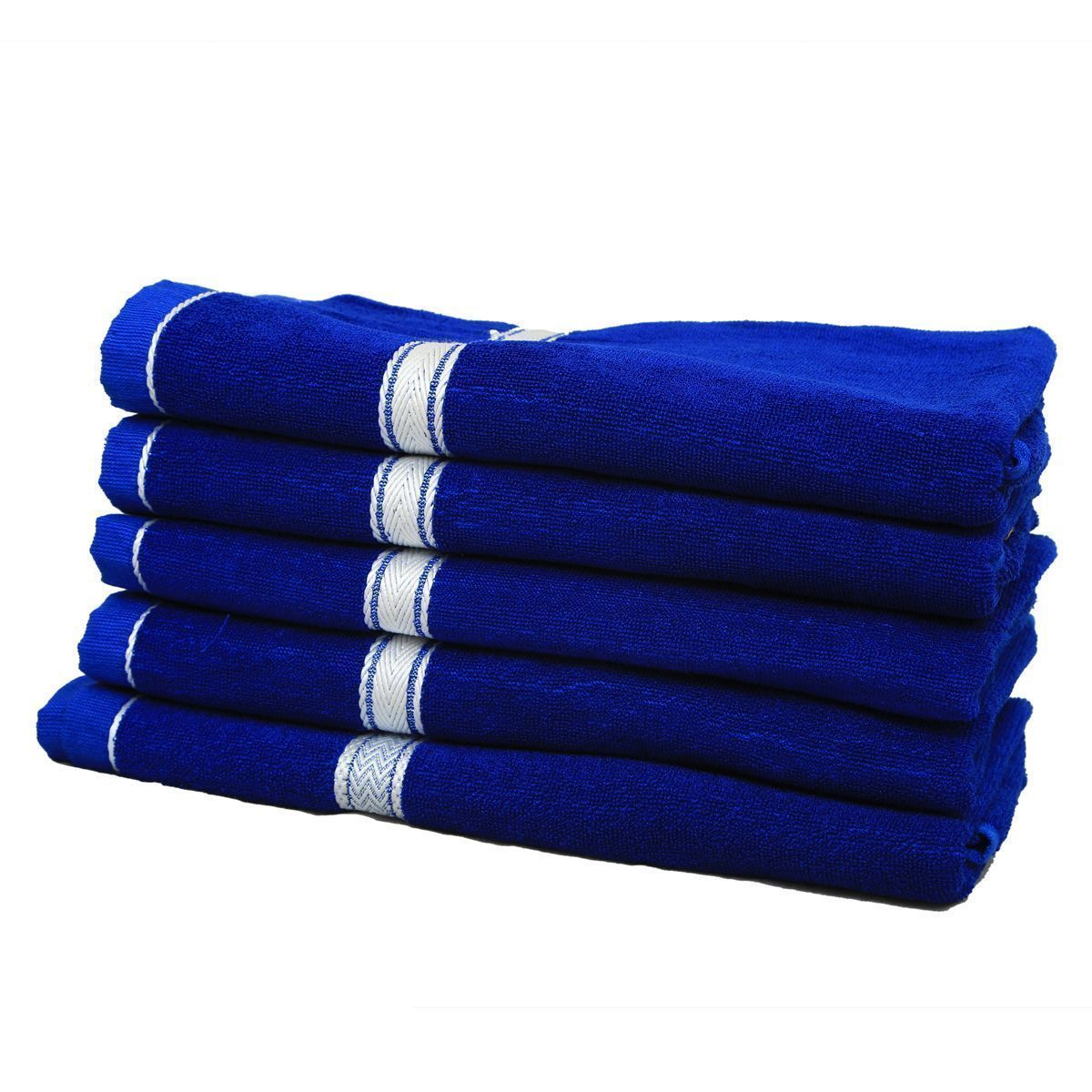 Kuber Industries Soft Terry Full Size Men's Bath Towel  Set Of 5 Pcs GSM-400 (30*60 Inches ) Royal Blue -KU7