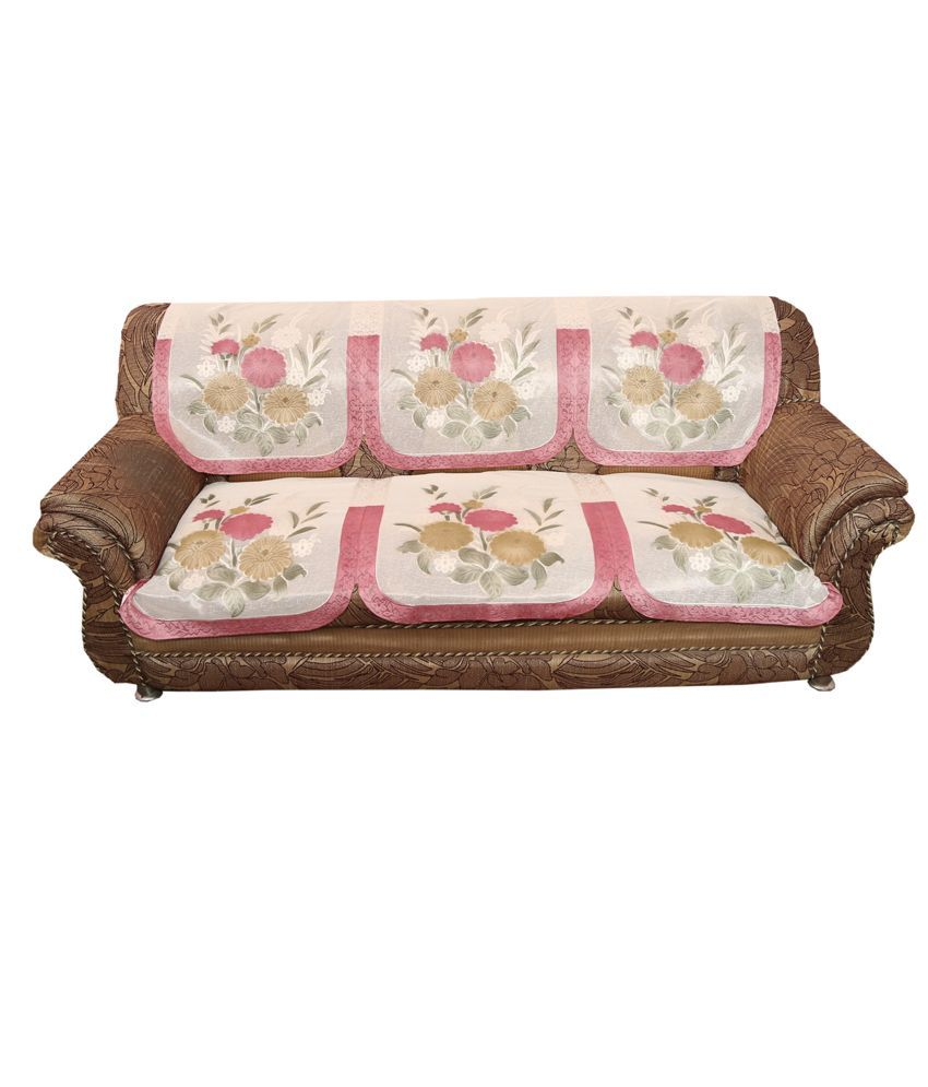 Kuber Industries™ Cream 5 Seater Imported Net Sofa Cover| Slip Cover Set -10 Pieces  Pink Border (Sofa025)