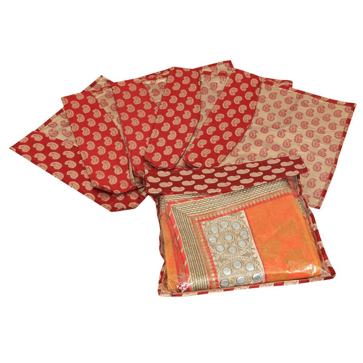 "Kuber Industriesâ""¢ Brocade Saree Cover Pack of 10 Pcs (Maroon) KU181"