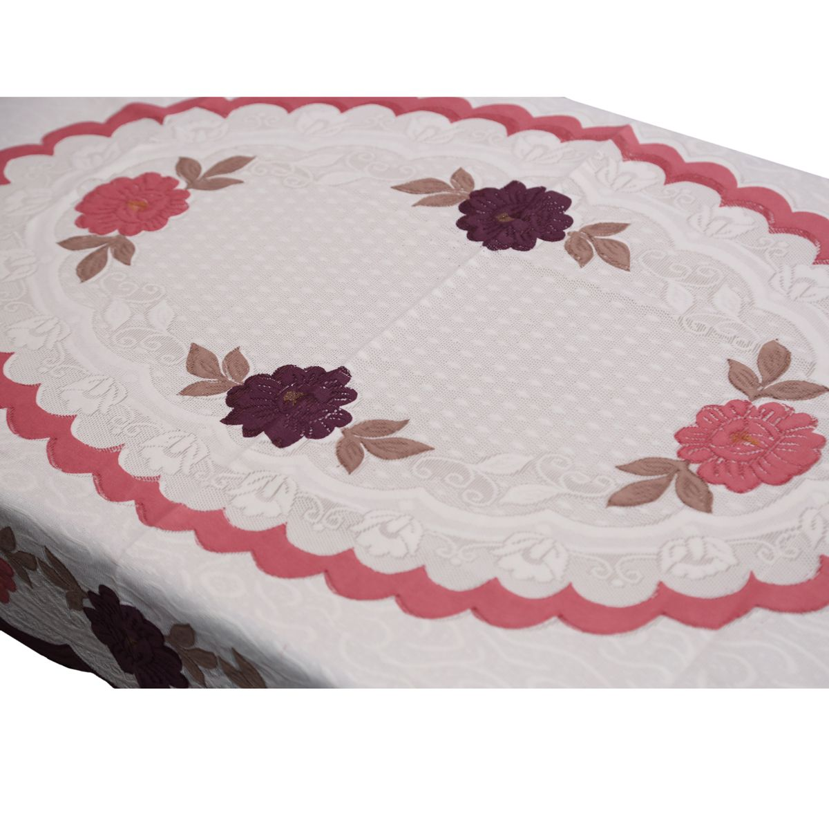 """Kuber Industriesâ""¢ Center Table Cover Cream Floral Design in Cloth 40*60 Inches - KU317 """