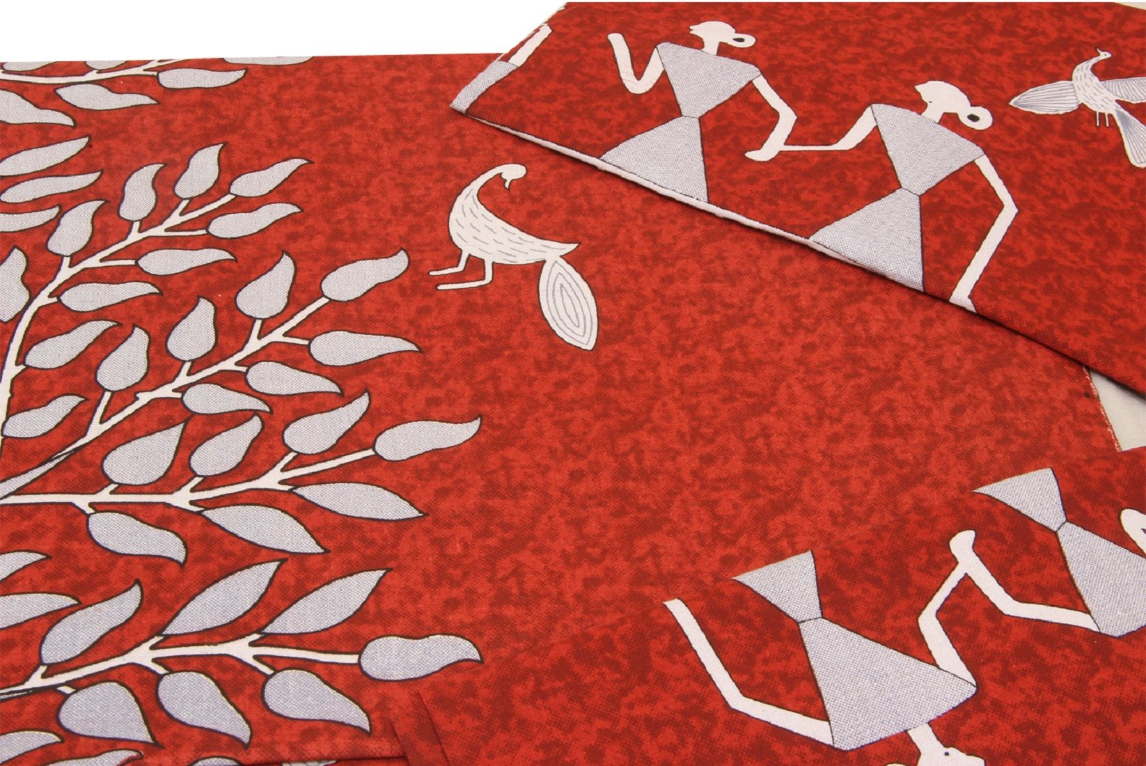 Kuber Industries Cotton 144 TC Double Bedsheet with 2 Pillow Covers (Red)