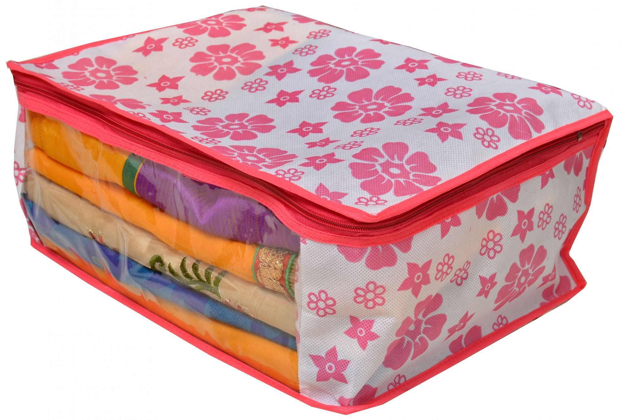 Kuber Industries Non Woven Saree Cover Pink Floral Design Set of 3 Pcs (Regular Size)