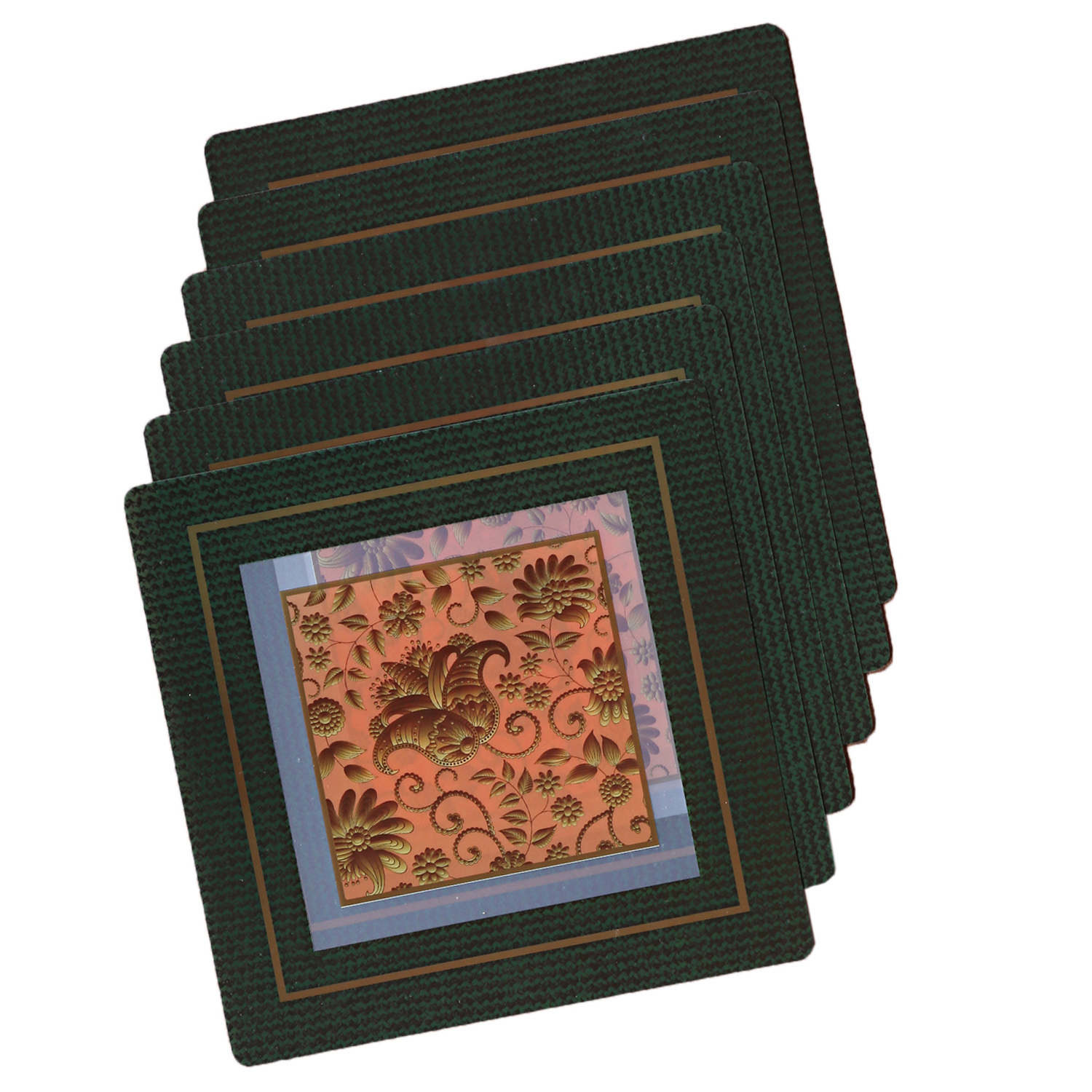 Kuber Industries 6 Pieces PVC Tea Coaster 23x23 CM (Green)-CTKTC1311