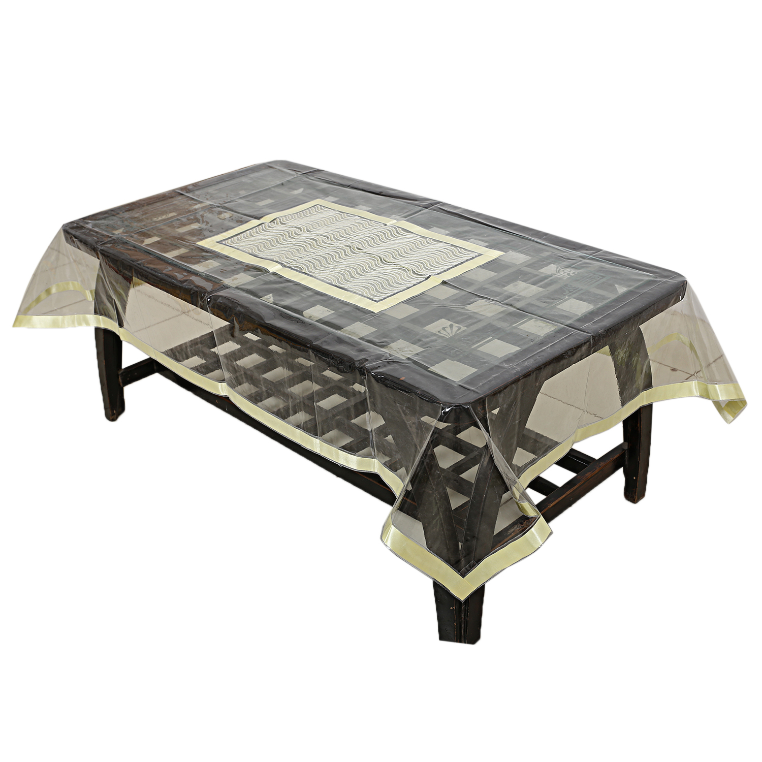 Kuber Industries PVC 4 Seater Center Table Cover (Gold)