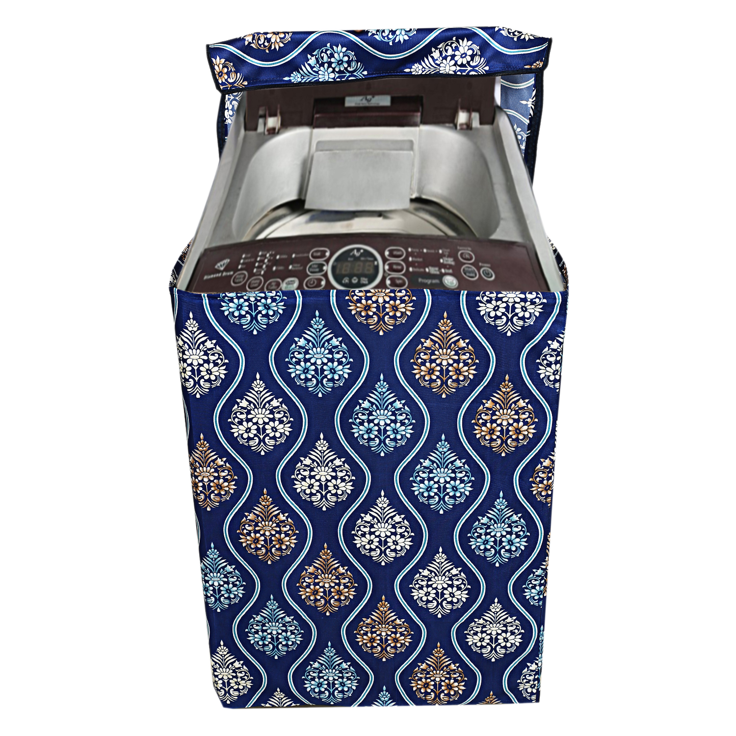 Kuber Industries Cotton Top Load Fully Automatic Washing Machine Cover (Blue)-CTKTC3870
