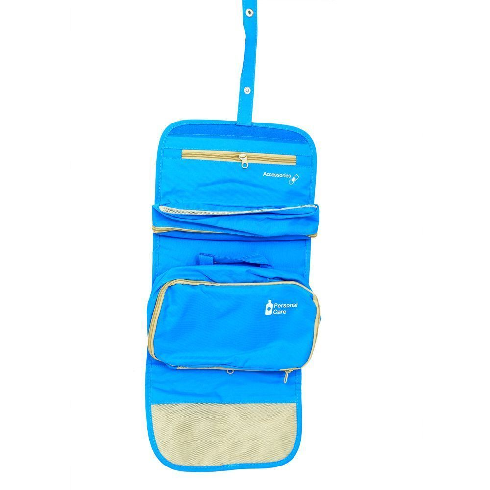 Kuber Industries Blue Long Folding Hanging Cosmetic Makeup Travel Organizer kit with detachable pockets (KI3300)