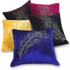 Kuber Industries Velvet Cushion Cover Set of 5 - Peacock Feather Design - KI3344