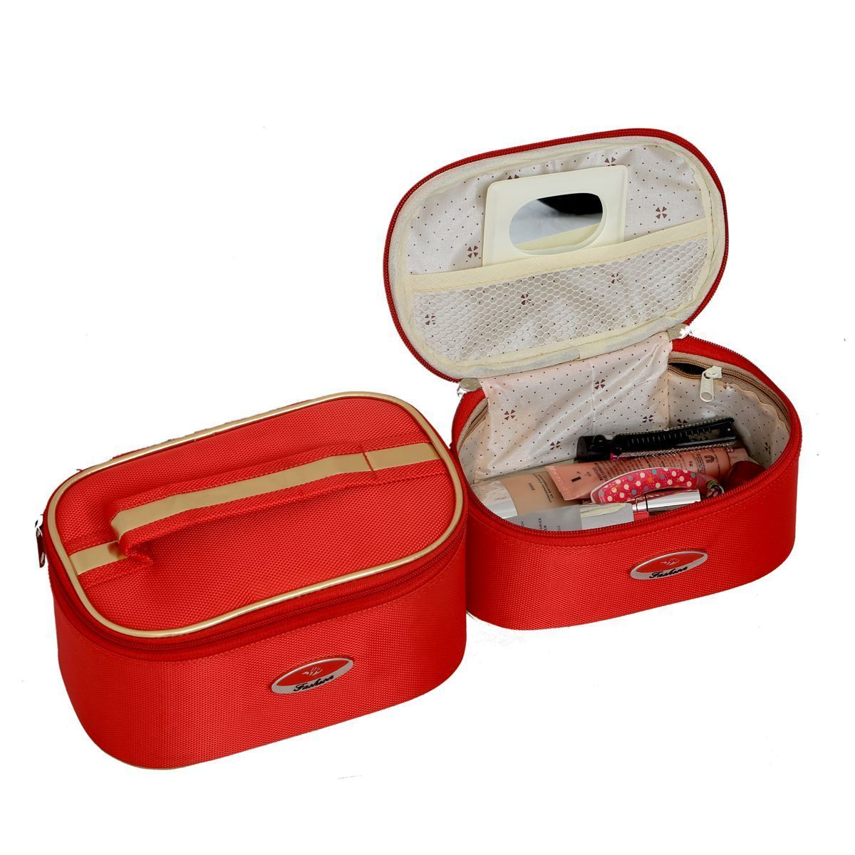 "Kuber Industriesâ""¢ Bridal Vanity box,Cosmetic Organiser,Make Up Kit,Multi Purpose Kit Set of 2 Pcs Red (KI19632)"