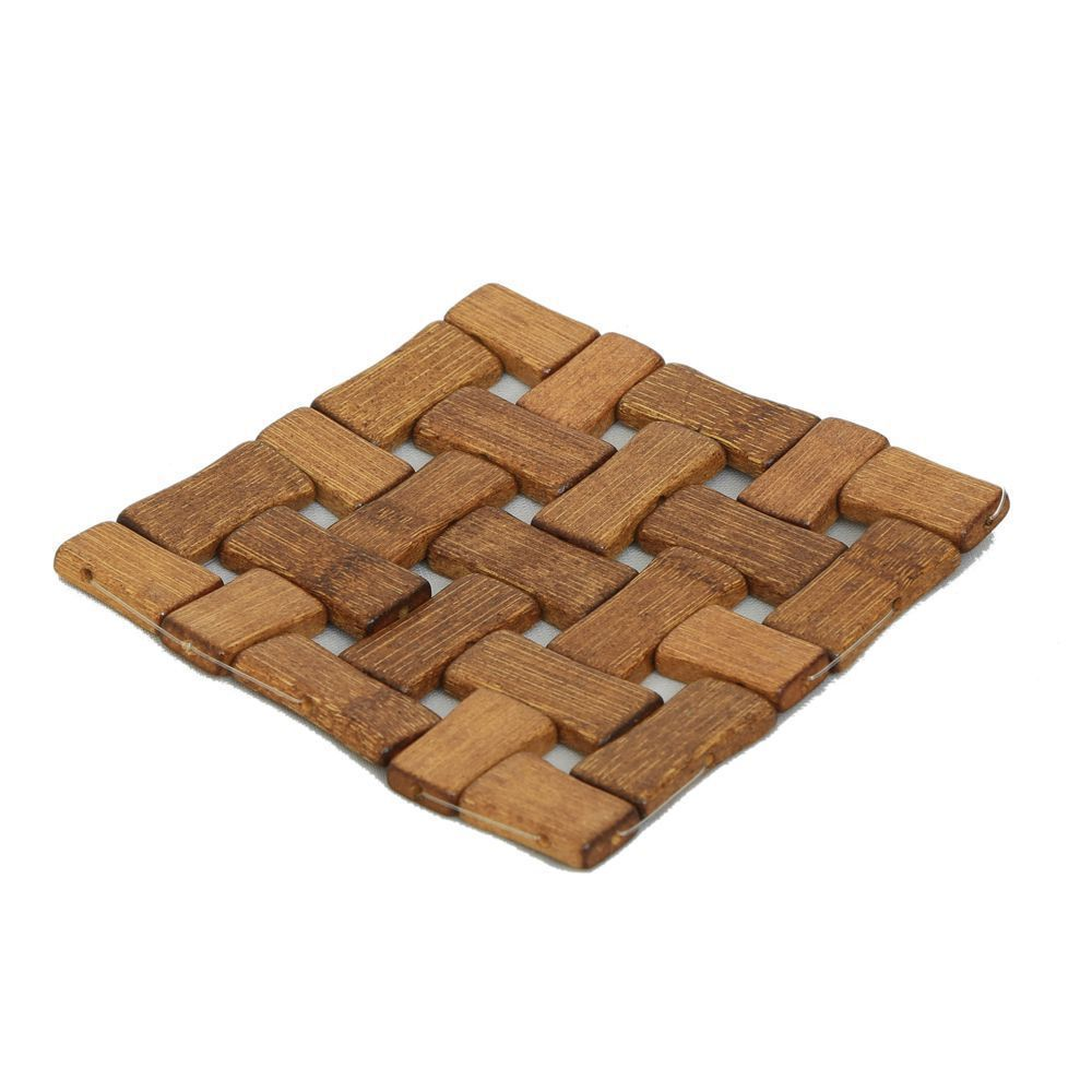 Kuber Industries Bamboo Wooden Coaster, Pan Pot Holder Heat Insulation Pad, Square 13 x 13 cm, 6 Piece Set -KI3428