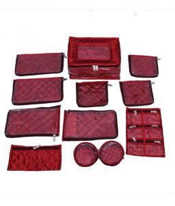 Quilted Satin Locker Jewellery Kit  12 Pouches