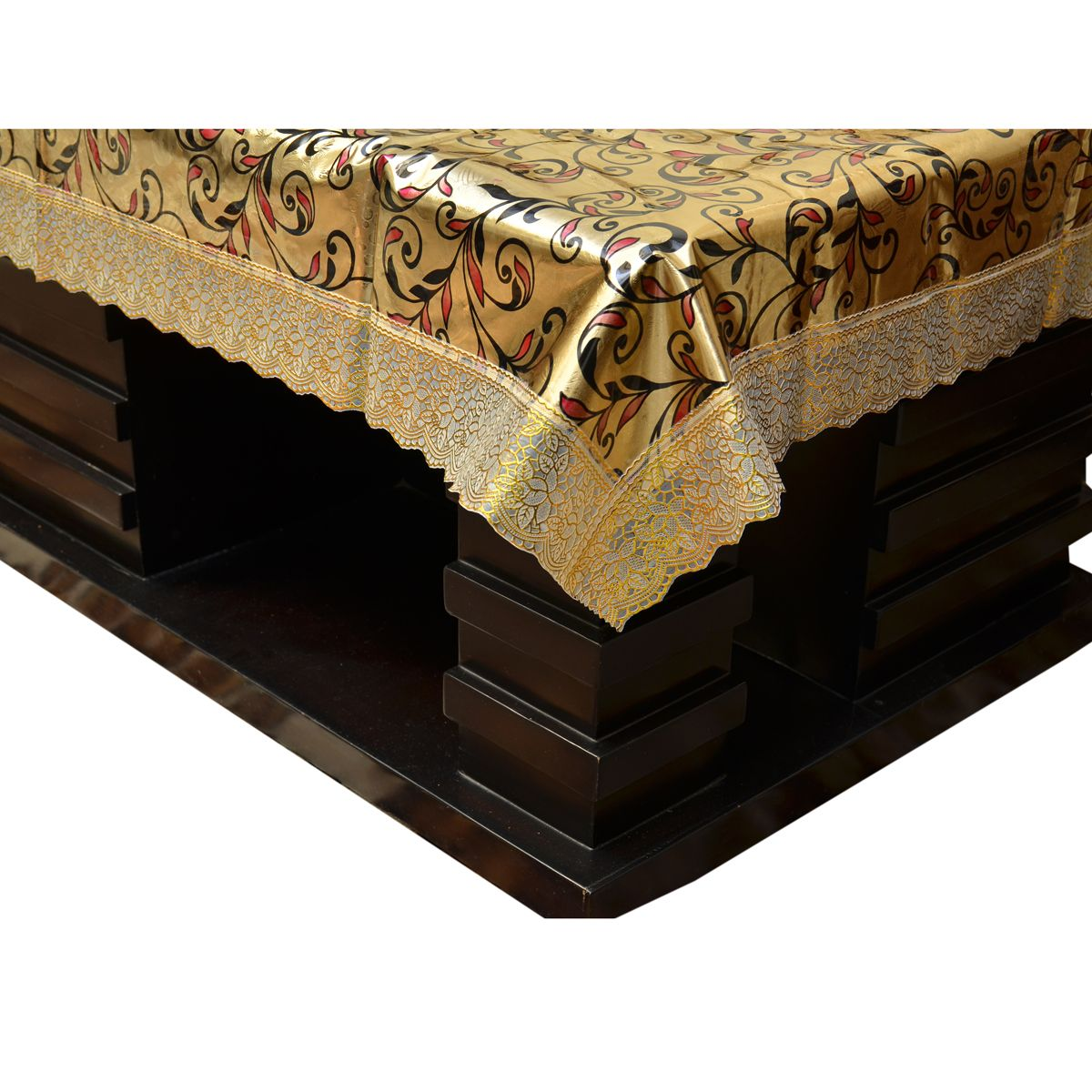 Kuber Industries™ Waterproof Center Table Cover 4 Seater 40*60 Inches (Golden Shining Design) (Code-CT0038)
