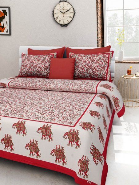 Kuber Industries™ 144 TC Cotton Double Bedsheet with 2 Pillow Covers - Red (BS1)