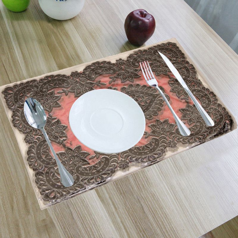 Kuber Industries PVC 6 Pieces Dining Table Placemat Set (Maroon)