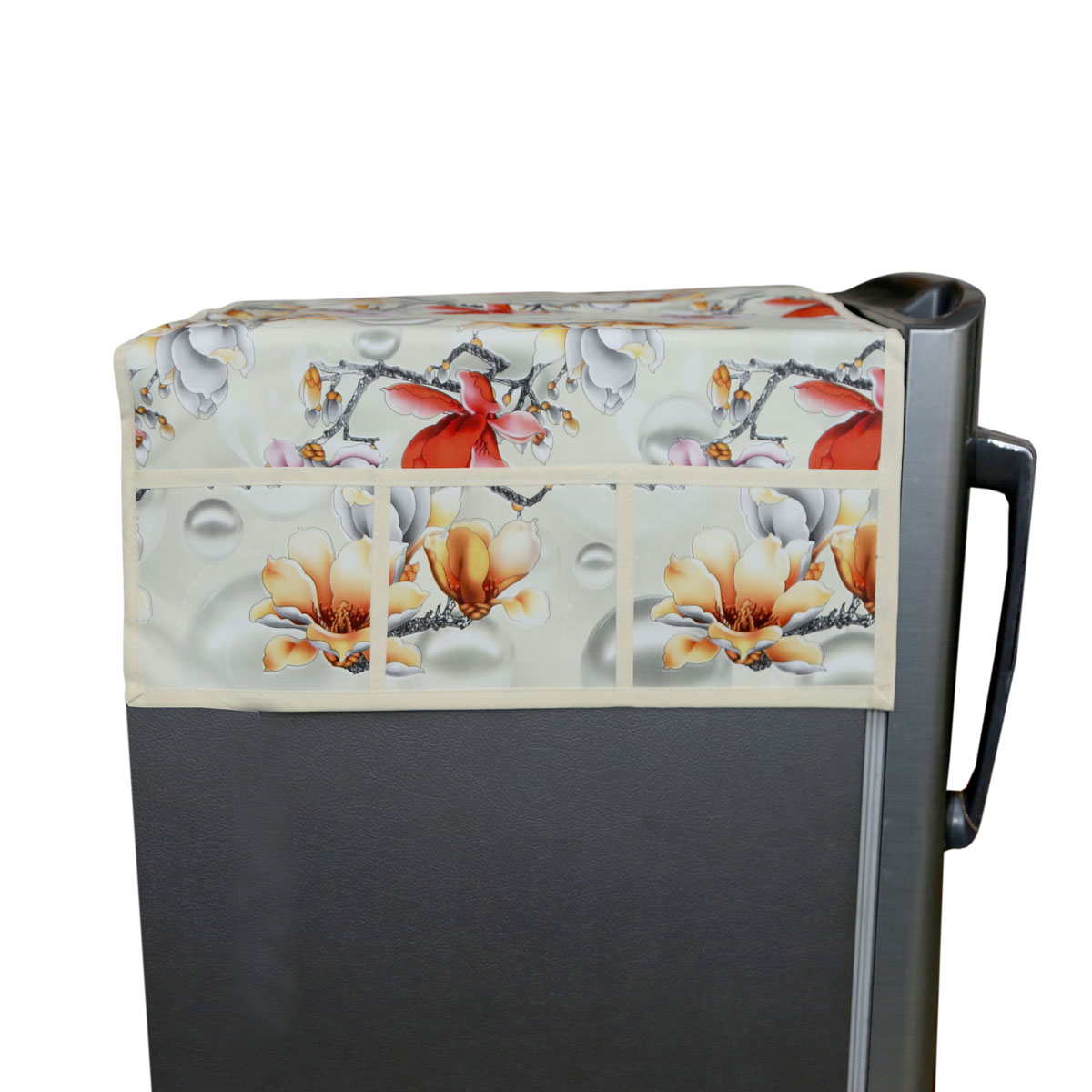 Kuber Industries™ Light Cream Fridge Top Cover In Waterproof Material (Exclusive Flower Design) KIC14